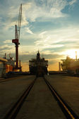 Vessel on track — Stock Photo