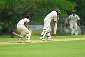 Cricket batsman and a catcher — Stock Photo