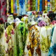 Colorful cotton fabrics on sale — Stockfoto