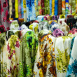 colorful cotton fabrics on sale — Stock Photo