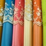Colorful cotton fabrics on sale — Stock Photo