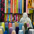 图库照片: Colorful cotton fabrics on sale