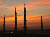 Silhouette of minarets of Nabawi mosque, Medina, Saudi Arabia — Stock Photo