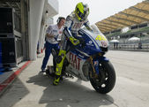 2009 Valentino Rossi of Fiat Yamaha Team at MotoGP Official Test — Stok fotoğraf
