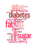 Diyabet hastalığı bilgi metin grafik ve düzenleme word bulutlar kavramı — Stok fotoğraf