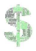 Dollar sign with finance terms or lingo info text graphics and arrangement — Stock Photo