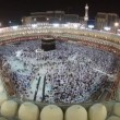 Muslim pilgrims circumambulate Kaaba at Masjidil Haram circa in Makkah, S. Arabia — Stock Video