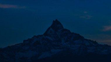 Machapuchare Mountain at Annapurna Range from Dhampus, Pokhara, Nepal. — Stock Video