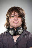 Scruffy Looking Headphones Man — Stock Photo