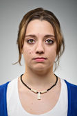 Young Caucasian Woman Blank Expression Portrait — Stock Photo