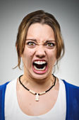 Extreme Rage Young Caucasian Woman Portrait — Stock Photo