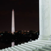 The Washington Monument From The Jefferson Memorial At Night — Stock Photo
