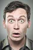 Wide Eyed Surprise Caucasian Man Portrait — Stock Photo
