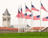 Ring Of Flags WIth The Old Post Office Clock Tower — Stock Photo