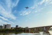 Rosslyn Virginia with the Francis Scott Key Bridge — Stok fotoğraf