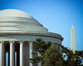 The Jefferson Memorial Dome with the Washington Monument in the — Stock Photo