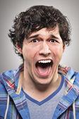 Caucasian Man Screaming Portrtait — Stock Photo