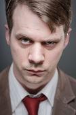Caucasian Man Raised Eyebrow Portrtait — Stock Photo