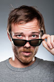 Caucasian Man Looking Over His Sunglasses — Stock Photo