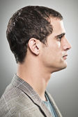 Caucasian Man Blank Expression Profile Portrtait — Stock Photo
