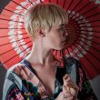 Kimono Girl With Parasol Portrait — Stock Photo