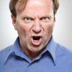 Mature Caucasian Man Yelling Angrily — Stock Photo