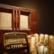 Stock Photo: Antique Radio With Baseball Mit And Glove