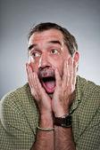Mature Caucasian Man Elated Surprise Portrait — Stock Photo