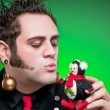 Young Man Dressed As A Christmas Loving Emo Goth - Stock Photo