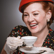 Retro Woman Drinking Her Tea — Stock Photo #24080551
