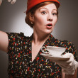 Retro Woman Drinking Her Tea - Stock Photo