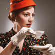 Retro Woman Drinking Her Tea — Stock Photo