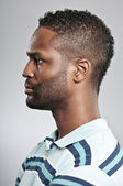 African American Man Profile Blank Expression — Stock Photo
