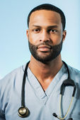 Exhausted African American Doctor Portrait — Stock Photo