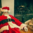 Drunk and Passed Out Santa Claus — Stock Photo