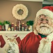 Stock Photo: Bad SantGetting Wasted On Christmas