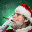 Bad Santa Lighting A Cigar — Stock Photo