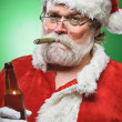 Bad Santa WIth A Beer And Cigar — Stock Photo