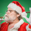 Bad Santa WIth A Martini And Cigar — Stock Photo
