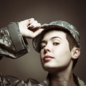 Androgynous Soldier — Stock Photo