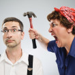 Stock Photo: Woman yelling at man