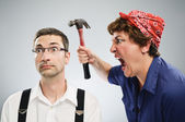 Woman yelling at man — Foto de Stock