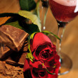 Valentines Chocolate, Roses, and Dessert Wine — Stock Photo #26952417