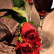 Valentines Chocolate, Roses, and Dessert Wine — Stock Photo