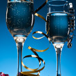 Blue New Years Champagne Celebration — Stock Photo