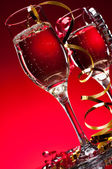Red New Years Champagne Celebration — Stock Photo