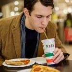 Drinking Soda with Pizza — Stock Photo #27160957