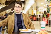 Dissatisfied With Cheap Food Court Pizza — Stock Photo