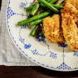 Breaded and Baked Chicken Dinner — Stock Photo