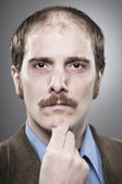 Young professor with mustaches — Stock Photo